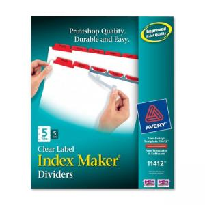 Avery Index Maker Punched Clear Label Tab Divider - 5 x Tab Blank - 5 / Pack - Red Tab