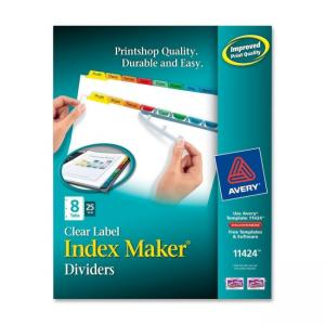 Avery Index Maker Punched Clear Label Tab Divider - 200 x Divider - 8 x Tab Blank