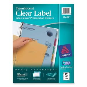 Avery Index Maker Translucent Clear Label Divider - 5 x Tab Blank - Multicolor Tab