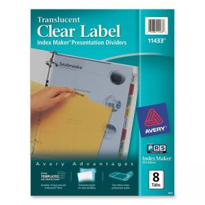 Avery Index Maker Translucent Clear Label Divider - 8 / Set