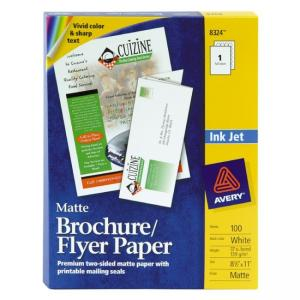 "Avery Ink Jet Tri-Fold Brochure - White - Letter 8.50"" x 11"" - 100 / Box"