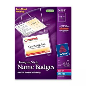 Avery 74459 Insertable Name Badge kit  - White