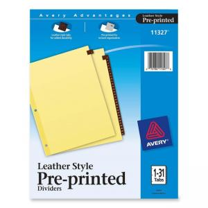 Avery Leather Daily Tab Index Divider - 31 / Set - Buff
