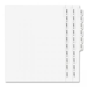 Avery Legal Exhibit Alphabetical Side Tab Dividers - 26 / Set - White