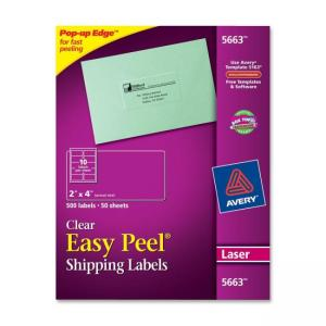 "Avery Mailing Label - 2"" Width x 4"" Length - 500 / Box - Clear"