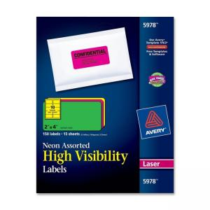 Avery Neon Rectangle Laser Labels - 150 / Pack - Neon Yellow and Green