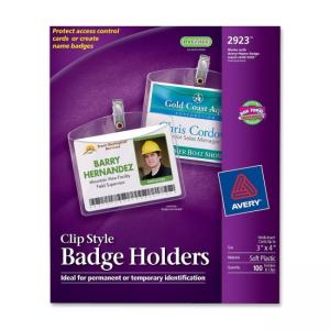 Avery 2923 Photo ID Badge Holder - Horizontal - 100 / Box - Clear