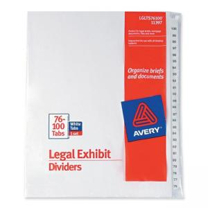 Avery Premium Collated Legal Exhibit Divider - 25 / Set - White