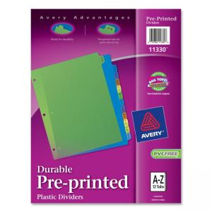 Avery 11330 Preprinted Plastic Divider - Assorted Tab