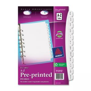 Avery 11313 Preprinted Tab Divider - White Divider - Clear Tab - Pack of 26 Tabs