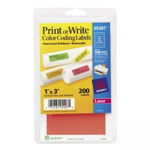 Avery Print or Write Color Coding Labels - 200 / Pack - Assorted Colors