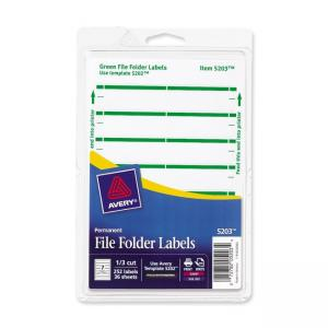 Avery Print or Write File Folder Labels - 252 / Pack - Green