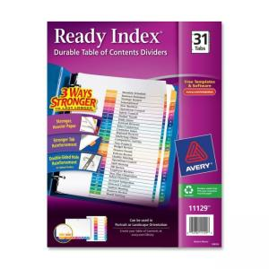Avery Ready Index Table of Contents Reference Divider - 31 / Set - Assorted Colors