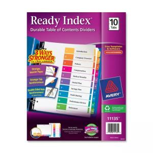 Avery Ready Index Table of Contents Reference Dividers - 10 / Set -  Assorted Colors