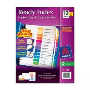 Avery Ready Index Table of Contents Reference Dividers - 6 / Pack - Assorted - Colors
