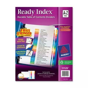 Avery Ready Index Table of Contents Reference Dividers - 26 / Set - Assorted Colors