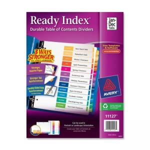Avery Ready Index Table of Contents Reference Divider - 12 / Set -  Assorted Colors