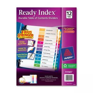 Avery Ready Index Table of Contents Reference Dividers - 12 / Set - Assorted Colors