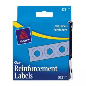 Avery Hole Reinforcement Labels - 200 / Pack - Clear