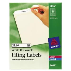 Avery Removable Filing Labels - White - 750 / Pack