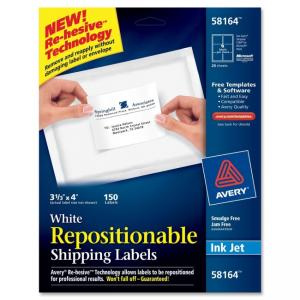 Avery Repositionable Shipping Labels - 150 / Box - White