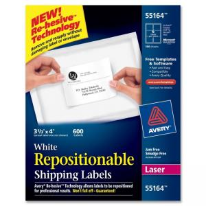 Avery Repositionable Shipping Labels - 250 / Box - White