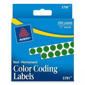 Avery Round Permanent Labels - 450 / Pack - Green