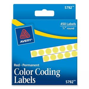 Avery Round Permanent Labels - 450 / Pack - Yellow