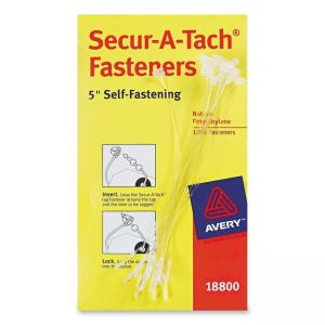 Avery Secur-A-Tach Plastic Tag Fastener -1000 / Box - White