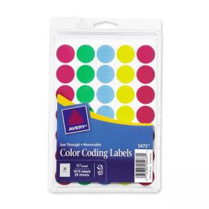 Avery Through Color Dots Labels - 1000 / Pack - Assorted Colors