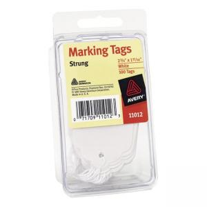 "Avery Medium Weight Stock Marking Tags With String - 2.75"" x 1.69"" - 12 / Pack - White"