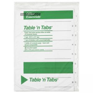 Avery Black-and White Table of Content Tab Dividers - 1 Set - White