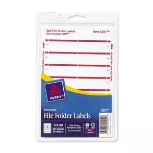 Avery Typewritten/Handwritten Filing Labels - Dark Red - 252 / Pack