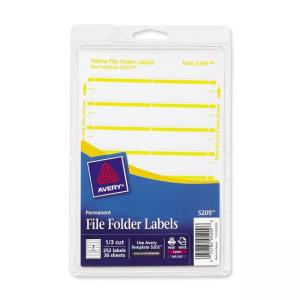 Avery Typewritten/Handwritten Filing Labels - Yelllow - 252 / Pack