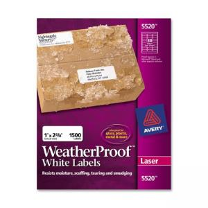 Avery Weather Proof Mailing Labels - 1500 / Box - White