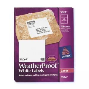 Avery Weather Proof Mailing Labels - 300 / Box - White