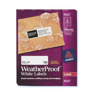 "Avery Weather Proof Mailing Labels - 700 / Box - 1.33"" Width x 4"" Length"