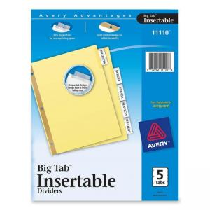 Avery WorkSaver Big Tab Insertable Divider - 5 x Tab Blank - 5 / Set