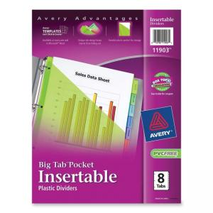 Avery WorkSaver Plastic Pocket Insertable Tab Dividers