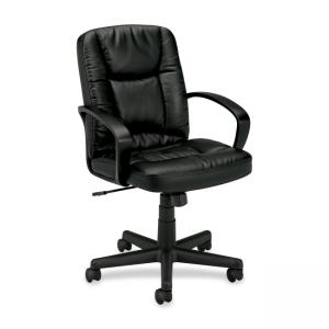 Basyx VL171 Management Chair - 1 Each - Leather - Black