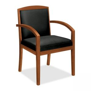 Basyx VL853 Wood Guest Chair With Upholstered Back - Bourbon Cherry - Black