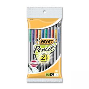 BIC Mini Mechanical Pencil with Three Leads - 10 / Pack - Assorted Barrel Colors