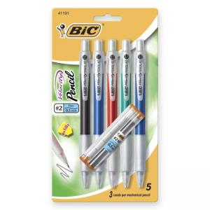 BIC Velocity Pencils - 5 / Pack - Rubber Grip