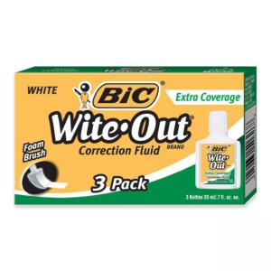 BIC Wite-Out Extra Coverage Correction Fluid - 3 / Box - White