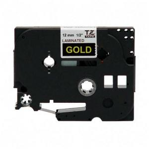 "Brother TZE334 Label Tape - 0.50"" Width - 1 Each - Gold"