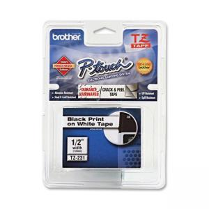"Brother TZES231 Label Tape - 0.50"" Width - 1 Each - Black"