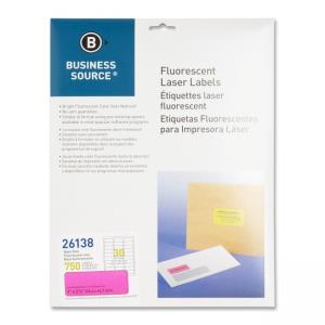 Business Source Fluorescent Laser Labels - 750 / Pack - Neon Pink