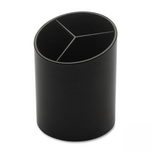 "Business Source 32355 3-Compartment Pencil Cup - 3"" x 3"" x 4.12"" - Plastic - 1 Each - Black"