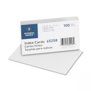 Business Source Plain Index Cards - White -100 / Pack