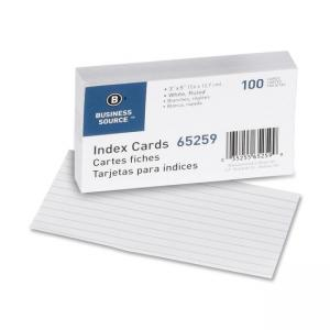 Business Source Ruled Index Cards - 100 / Pack - White